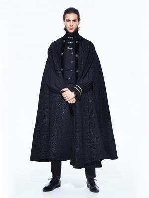 Black Gothic Long Cape Cloak For Men