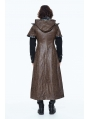 Coffee Steampunk Long Hooded Cape Coat for Men
