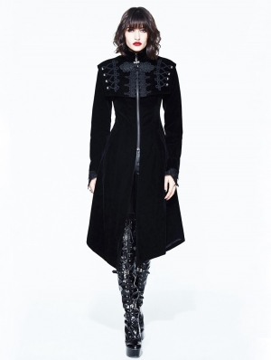 Black Vintage Velvet Gothic Long Cape Coat for Women