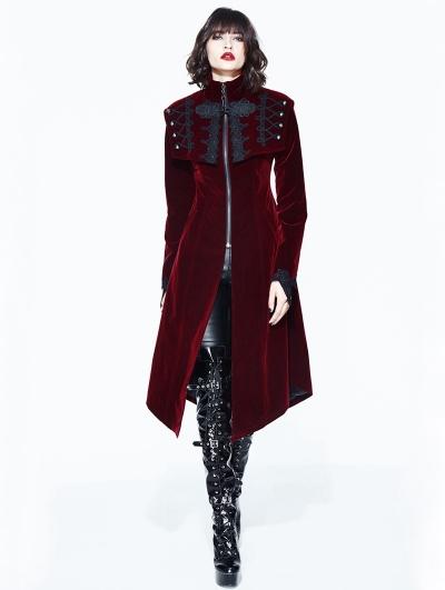 Red Vintage Velvet Gothic Long Cape Coat for Women
