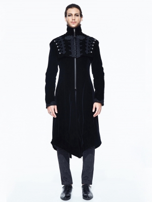 Black Vintage Velvet Gothic Long Cape Coat for Men