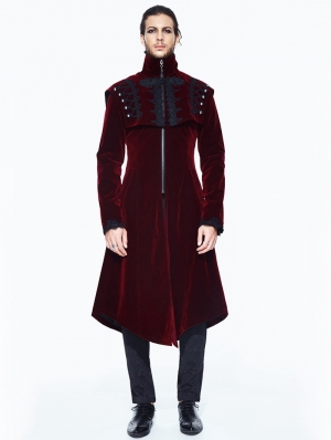 Red Vintage Velvet Gothic Long Cape Coat for Men