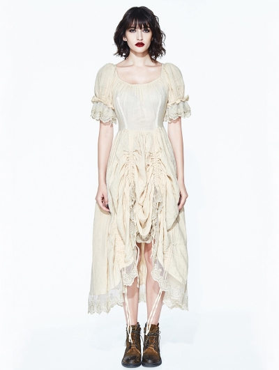Ivory Vintage Steampunk High-Low Dress