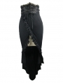 Black Sexy Gothic High-Low Skirt for Women