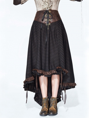 Brown Striple Steampunk Skirt for Women