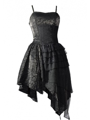 Spaghetti Strap Black Gothic Party Dress with Irregular Skirt