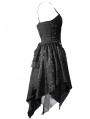 Spaghetti Strap Black Gothic Party Dress with Irregular Skirt