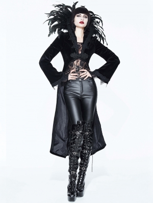 Black Gothic Vampire Dark Queen Coat for Women
