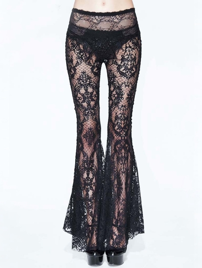 Black Sexy Gothic Transparent Lace Flared Trousers for Women