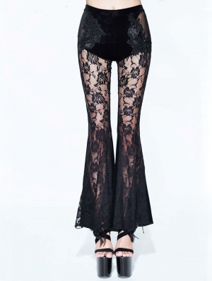 Black Sexy Gothic Velvet Lace Flared Trousers for Women