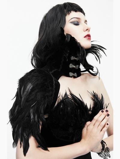 Black Gothic Feather Collar