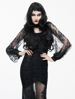 Black Gothic Lace Cape for Women