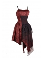 Spaghetti Strap Red Gothic Party Dress with Irregular Skirt