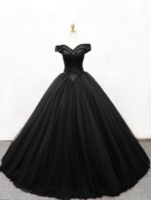 Black Gothic Princess Ball Gown Wedding Dress