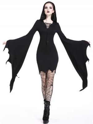 Black Gothic Super Bat Sleeve Sexy Hooded Short Dress