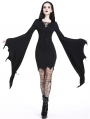 Black Gothic Super Bat Sleeve Sexy Hooded Short Dress