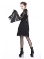 Black Elegant Gothic Lace Sleeve Knitted Short Dress
