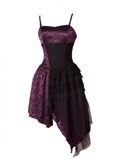 Spaghetti Strap Purple Gothic Party Dress with Irregular Skirt