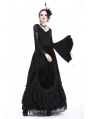Black Gothic Flower Lace Sleeves T-Shirt for Women