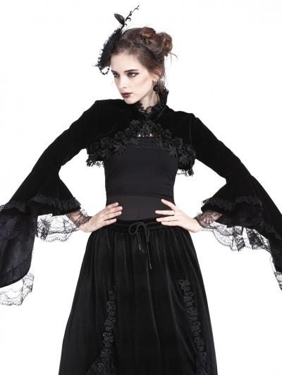Black Gorgeous Gothic Velvet Short Cape Jacket for Women