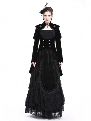 Black Gothic Cross Double-Breasted Long Velvet Jacket for Women