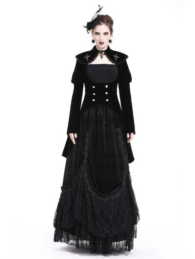 Black Gothic Cross Double-Breasted Long Velvet Jacket for Women