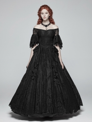 Black Gorgeous Lace Gothic Victorian Dress