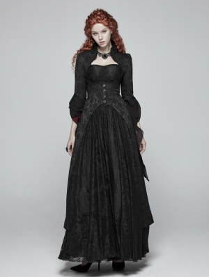 Black Jacquard Gothic Court Long Coat for Women