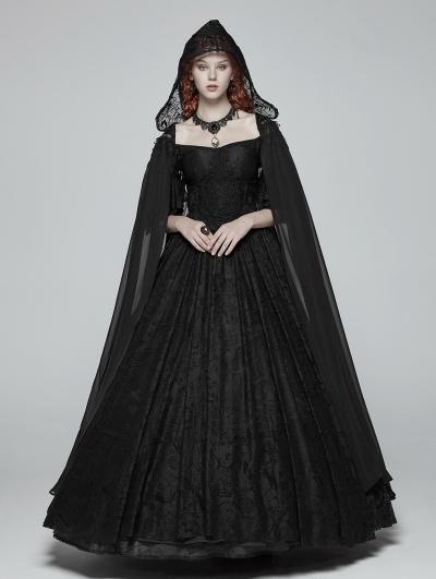 Black Gothic Chiffon Long Cape for Women
