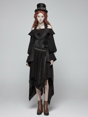 Black Gothic Performance Detachable Vest for Women