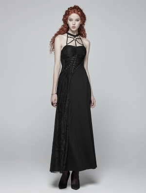 Black Gothic Halter Daily Wear Long Dress