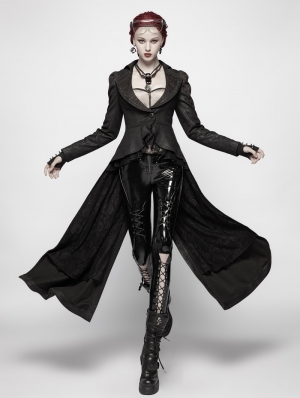 Black Gothic Dark High-Low Coat for Women