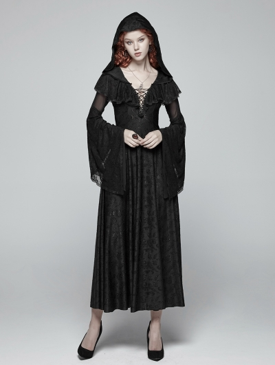 Black Gothic Lace Hooded Witch Dress