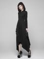 Black Gothic Bat Wing Hooded Long Dress