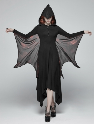 Black and Red Gothic Bat Wing Hooded Long Dress