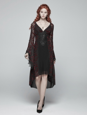 Red Gothic Goddess Classical Mid-length Dress