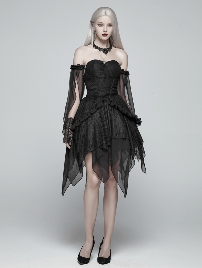 Black Gothic Lolita Elf Short Dress