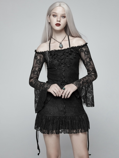 Black Gothic Boat Neck Lace Mini Dress Shirt for Women