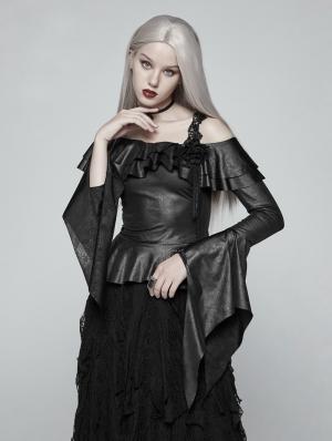 Black Gothic One-Shoulder Ruffles Shirt for Women
