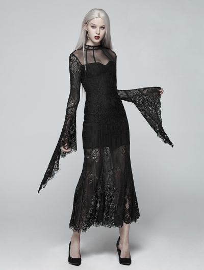 Black Gothic Daily Wear Lace Maxi Dress