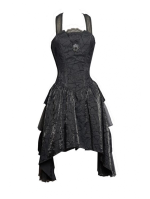 Black Halter Short Gothic Party Dress with Irregular Skirt