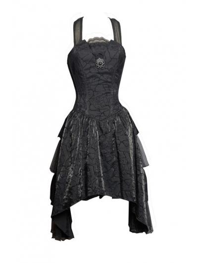 Black Halter Short Gothic Party Dress with Irregular Skirt