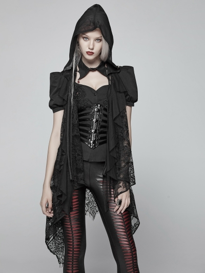 Black Gothic Daily Lace Vest for Women