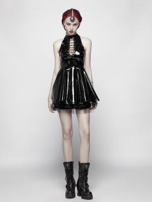 Black Gothic Punk Nightclub Sleeveless Mini Dress