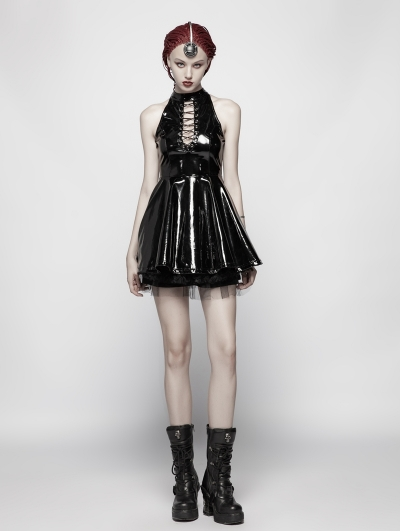 Black Gothic Punk Nightclub Sleeveless Mini Dress