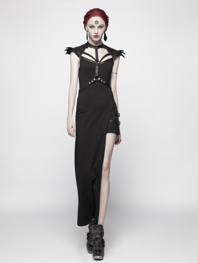 Black Gothic Punk Asymmetric Sexy Dress