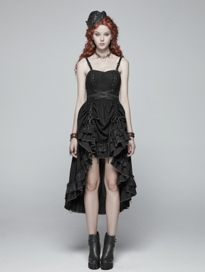 Black Pleated Steampunk High-Low Dress
