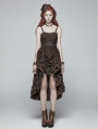 Brown Pleated Steampunk High-Low Dress