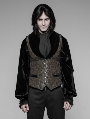 Gothic Dark Gold Jacquard Vest for Men