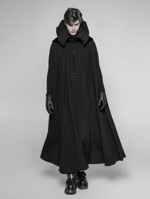 Black Gothic Vampire Count Long Cloak for Men